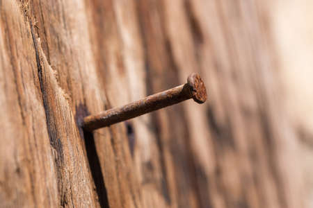 A rusty nail in a wooden board