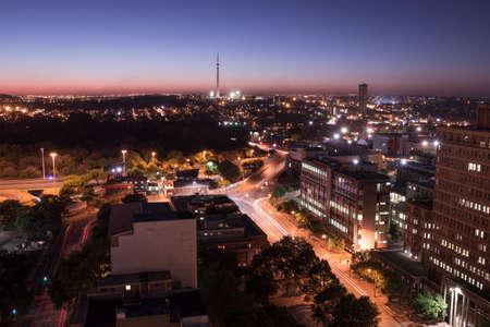 johannesburg: Night cityscape long exposure of Johannesburg city lights