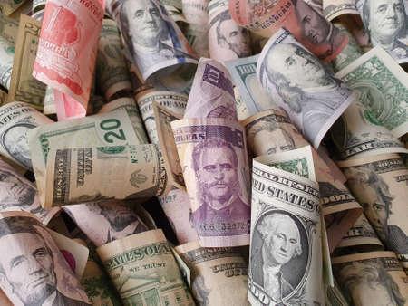 honduran banknotes and american dollar bills of different denominations Stockfoto