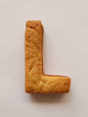 baked biscuit with shape the letter L