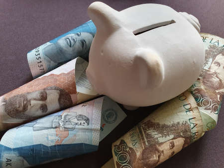 White piggy bank and Colombian banknotes of different denominations