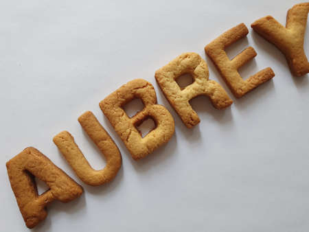 baked biscuits with shape of letters forming the name Aubrey