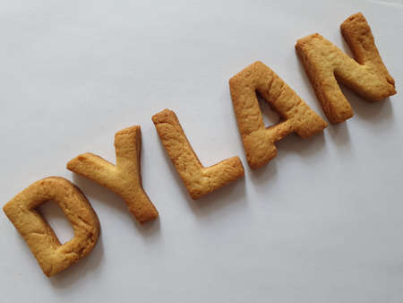 baked biscuits with shape of letters forming the name Dylan
