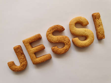 baked biscuits with shape of letters forming the name Jessi