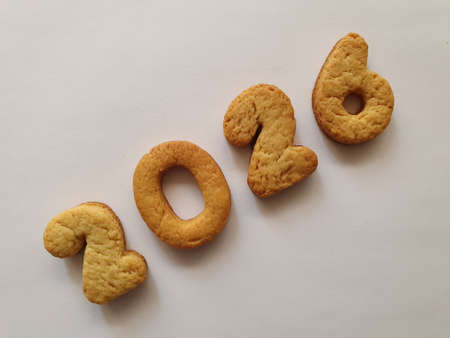 baked biscuit that form the number 2026, background for celebration and events Stockfoto