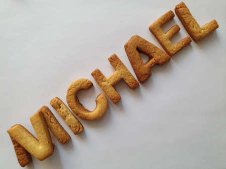 baked biscuits with shape of letters forming the name Michael