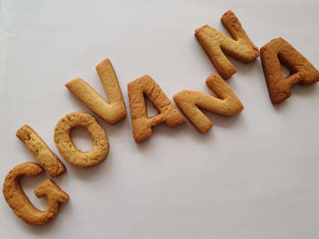 baked biscuits with shape of letters forming the name Giovanna