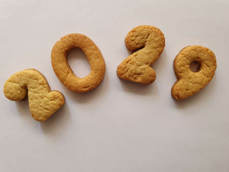 baked biscuit that form the number 2029, background for celebration and events