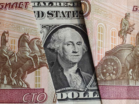 approach to american one dollar bill and Russian banknotes