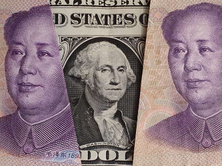 approach to american one dollar bill and Chinese banknotes Banco de Imagens