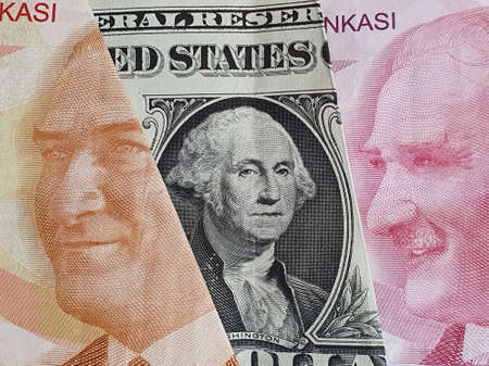approach to american one dollar bill and Turkish banknotes