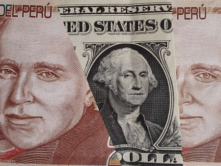 approach to american one dollar bill and Peruvian banknotes