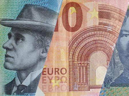 approach to european banknote and Australian bills 版權商用圖片