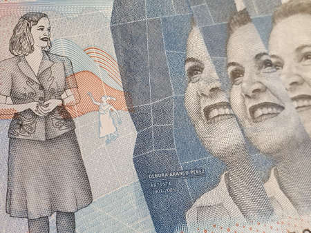 approach to colombian banknotes of 2000 pesos, background and texture