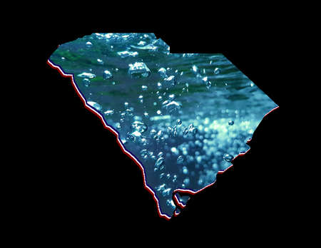 map of South Carolina state with moving water image and black background