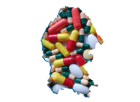 map of Coahuila state with medicine pills and white background
