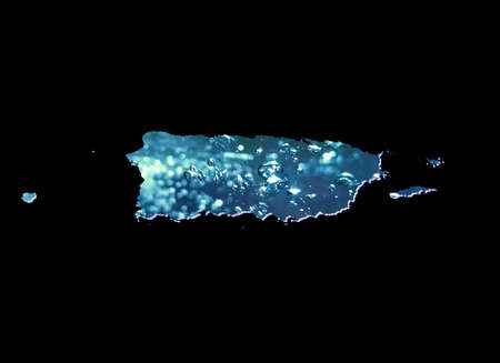 map of Puerto Rico with moving water image and black background