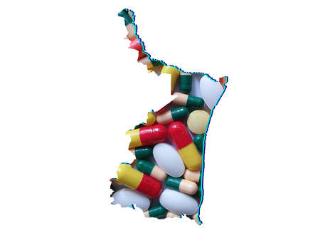 map of Tamaulipas state with medicine pills and white background