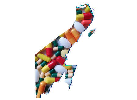 map of Quinta Roo state with medicine pills and white background