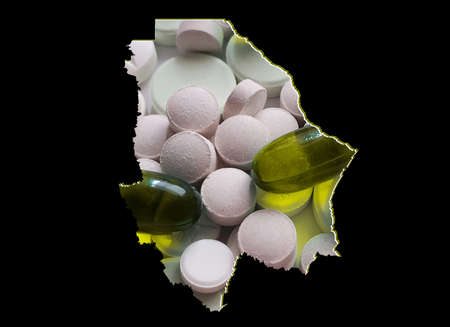 map of Chihuahua state with medicine pills and black background
