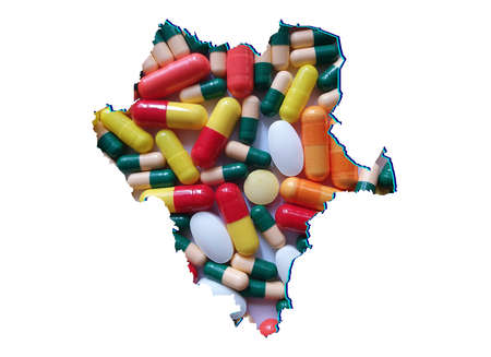 map of Durango state with medicine pills and white background