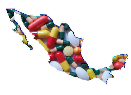 map of Mexico with medicine pills and white background