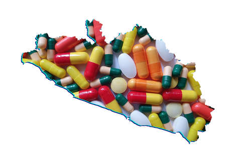 map of Guerrero state with medicine pills and white background