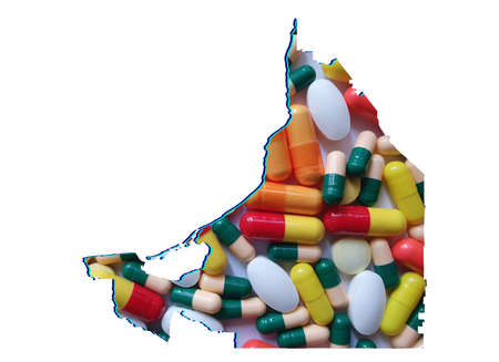 map of Campeche state with medicine pills and white background