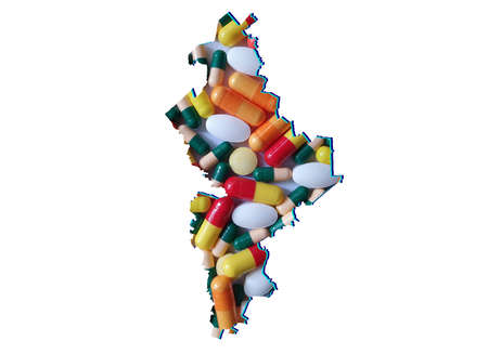 map of Nuevo Leon state with medicine pills and white background