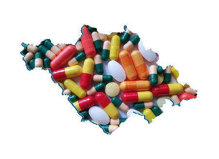 map of Tlaxcala state with medicine pills and white background