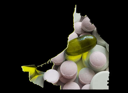 map of Campeche state with medicine pills and black background