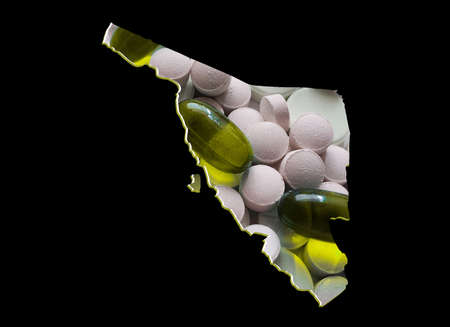 map of Sonora state with medicine pills and black background