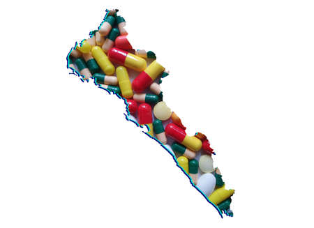 map of Sinaloa state with medicine pills and white background