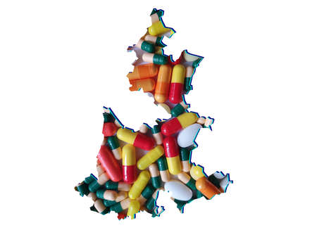 map of Puebla state with medicine pills and white background