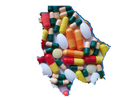 map of Chihuahua state with medicine pills and white background