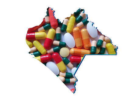 map of Chiapas state with medicine pills and white background