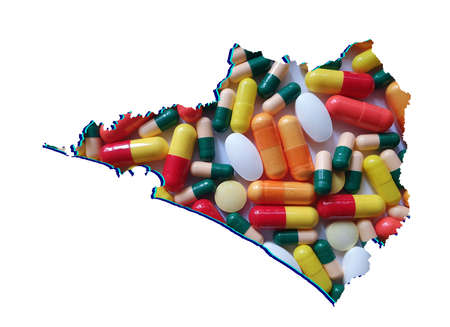 map of Colima state with medicine pills and white background