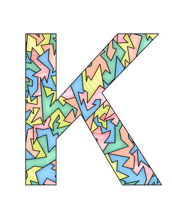 letter K with pastel stained glass style and pattern, background and texture
