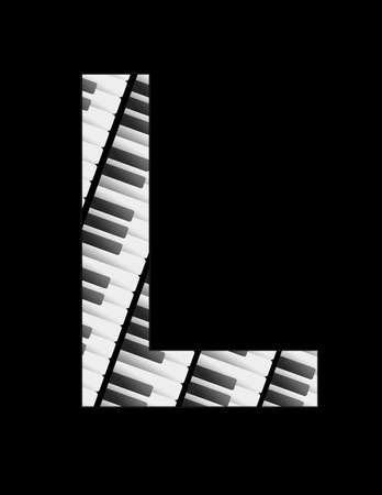 illustration featuring the keys of a musical keyboard forming the letter L with black background