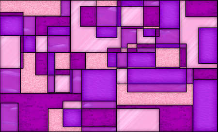 illustration with geometric design and stained glass style in pink and purple colors, background and texture