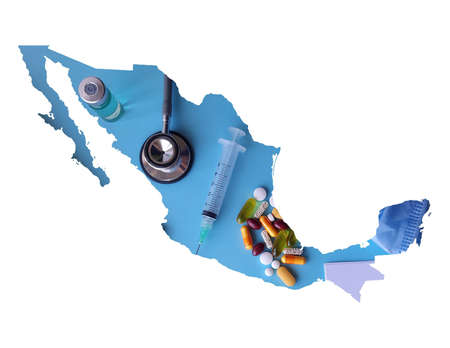 map of Mexico formed with a picture of health care objects and white background