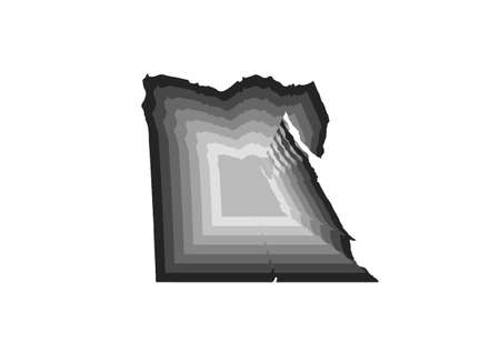 layered digital illustration of Egypt map in gray gradient colors and white background