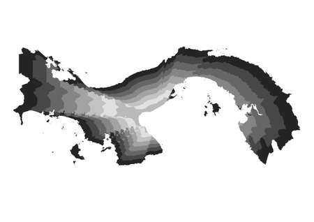 layered digital illustration of Panama map in gray gradient colors and white background