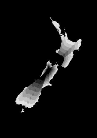 layered digital illustration of New Zealand map in gray gradient colors and black background