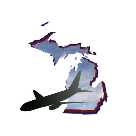 illustration of the silhouette of an airplane on the map of the State of Michigan with the image of the sky