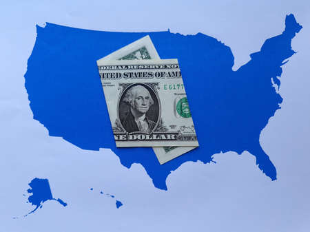 american one dollar banknote and background with United States map silhouette Foto de archivo