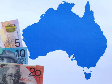 australian banknotes and background with Australia map silhouette