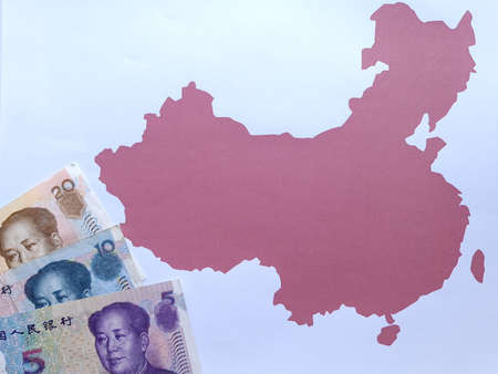 chinese banknotes and background with China map silhouette
