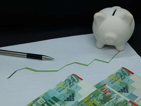 israeli banknotes, pen and piggy bank on background with rising trend green line