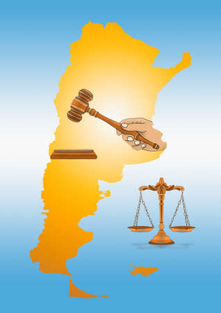 illustration of a map of Argentina with hand of a judge holding a mallet and a scale